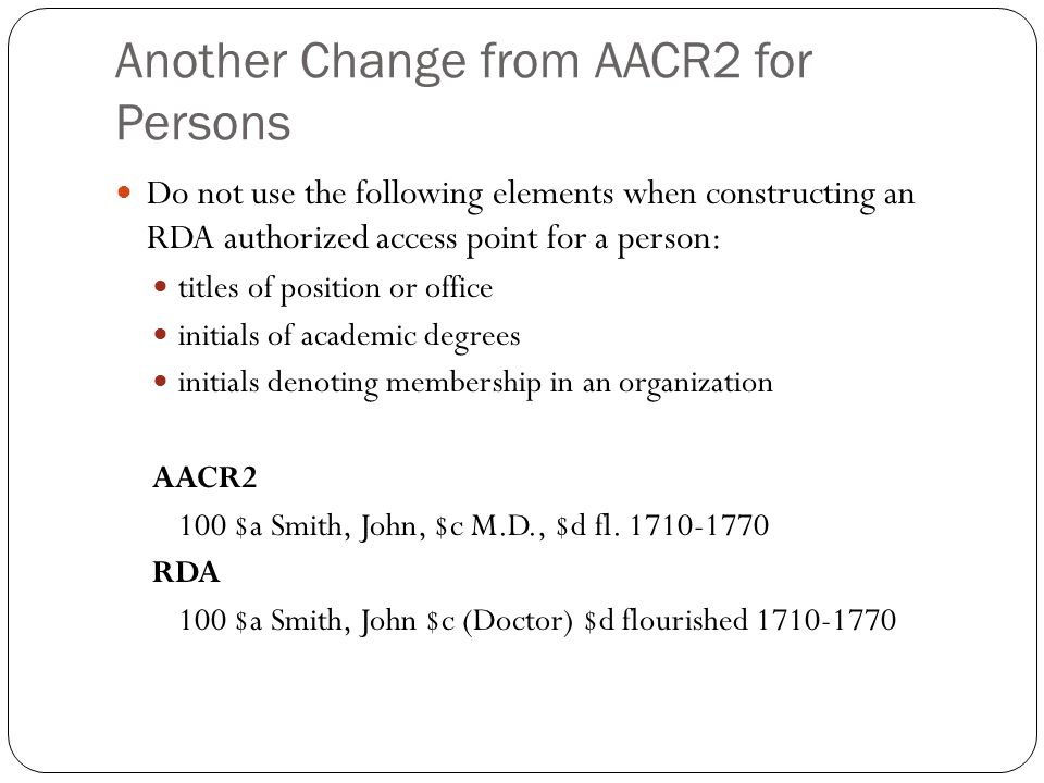 Another Change from AACR2 for Persons