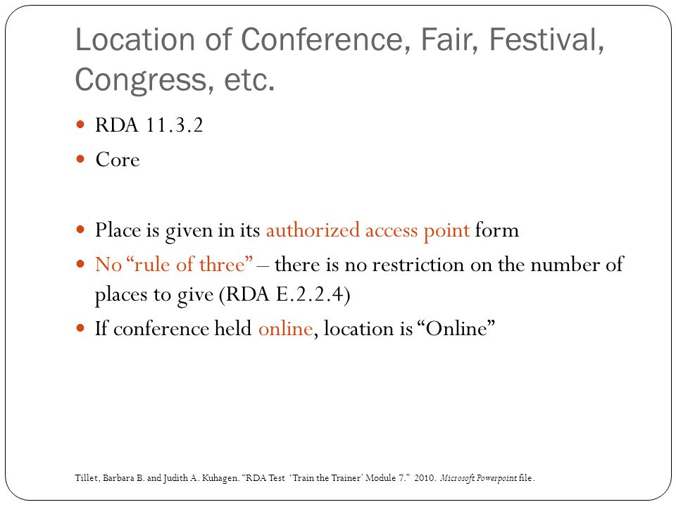 Location of Conference, Fair, Festival, Congress, etc.