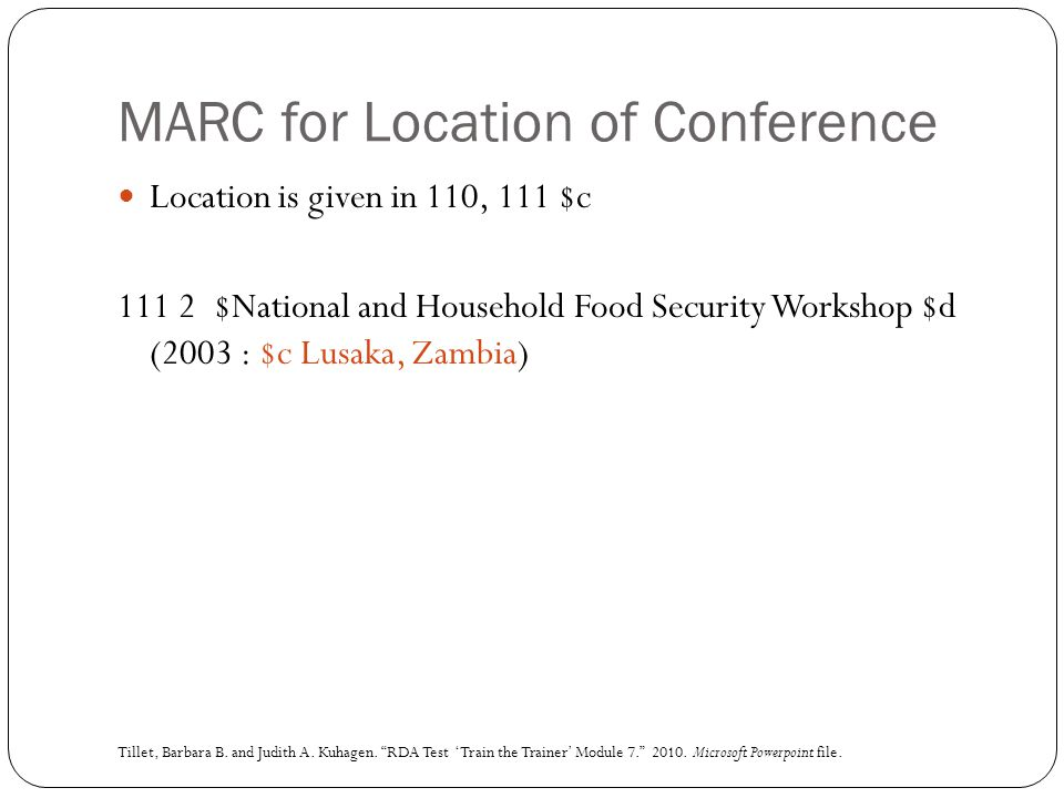 MARC for Location of Conference
