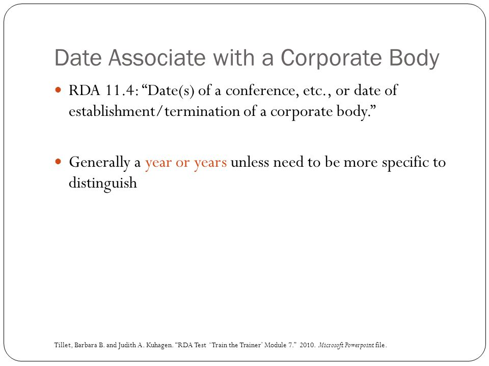 Date Associate with a Corporate Body