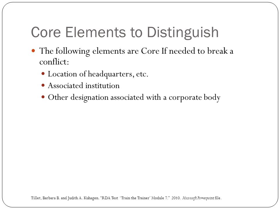 Core Elements to Distinguish