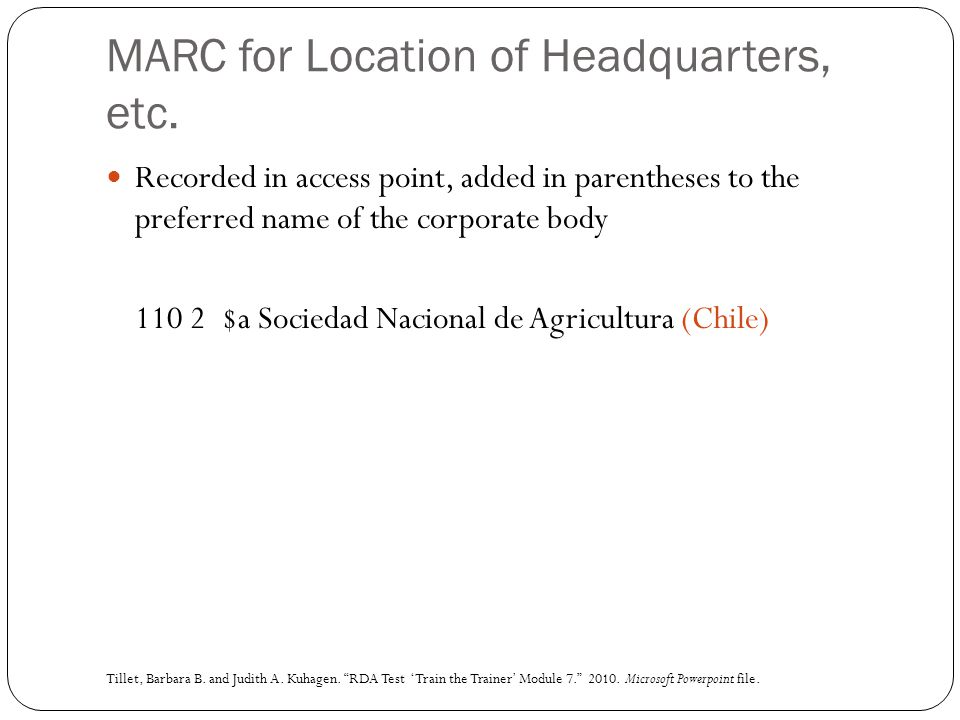 MARC for Location of Headquarters, etc.