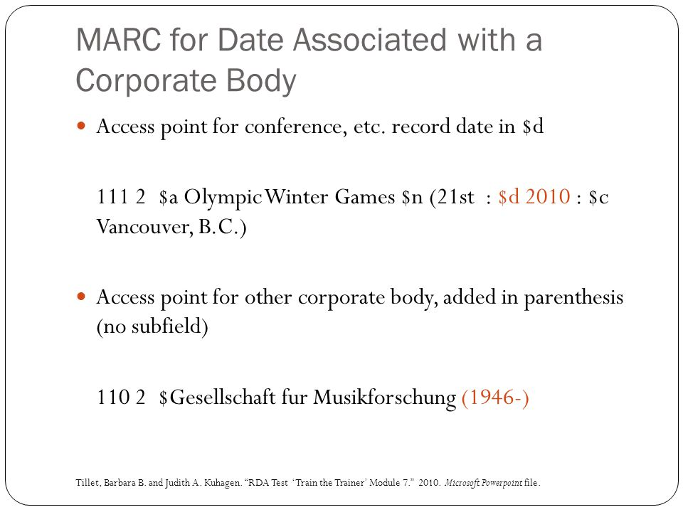 MARC for Date Associated with a Corporate Body