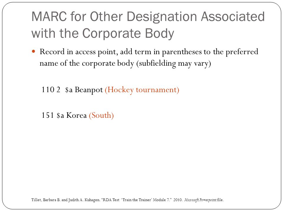 MARC for Other Designation Associated with the Corporate Body