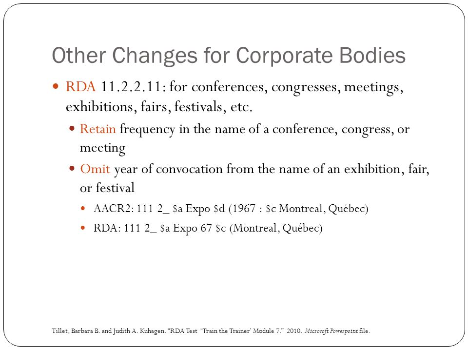 Other Changes for Corporate Bodies