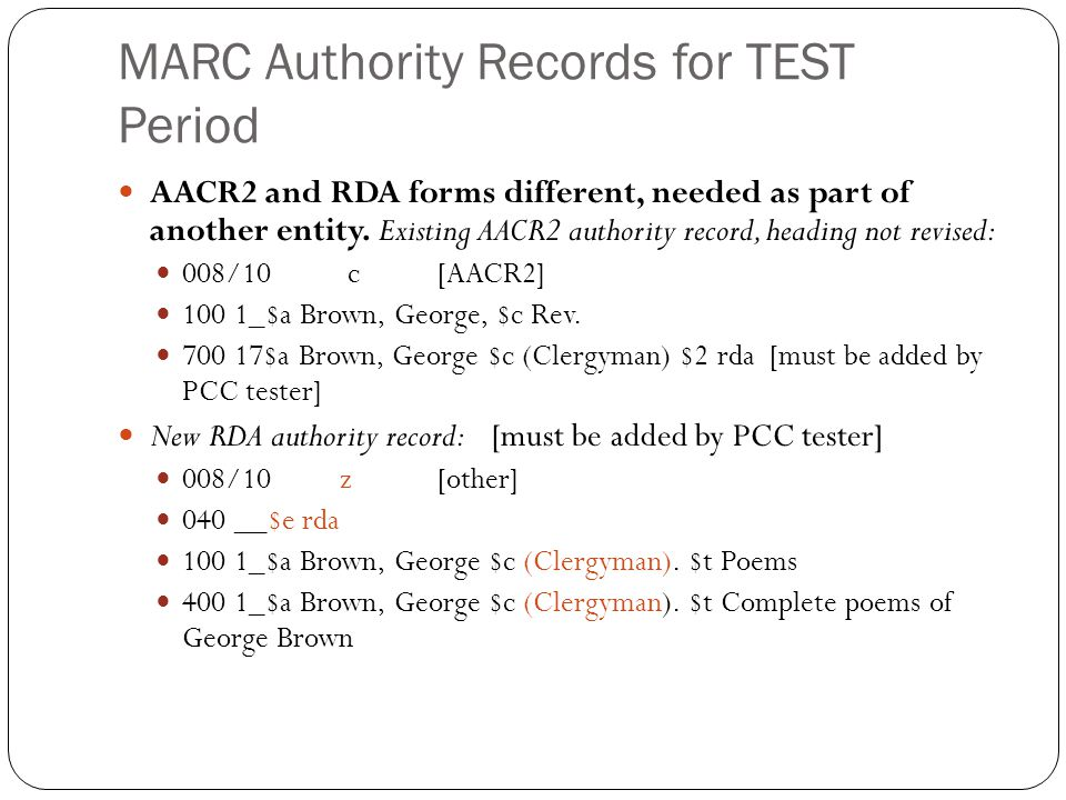 MARC Authority Records for TEST Period