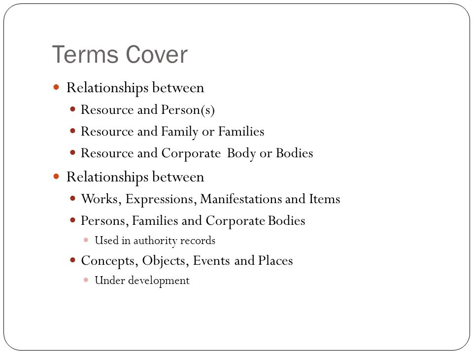 Terms Cover Relationships between Resource and Person(s)