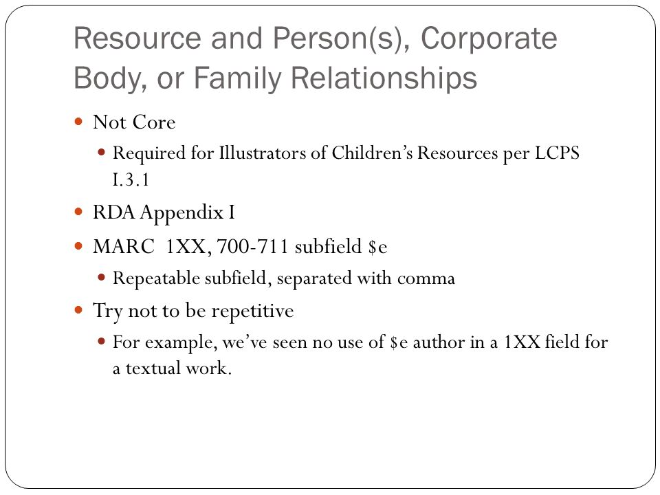 Resource and Person(s), Corporate Body, or Family Relationships
