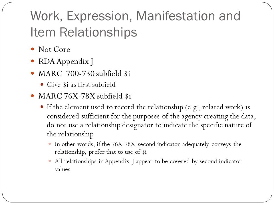 Work, Expression, Manifestation and Item Relationships