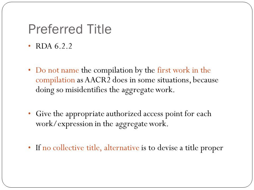 Preferred Title RDA 6.2.2.