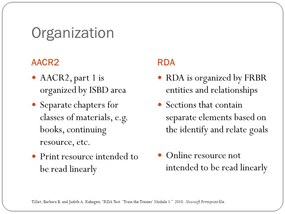 Organization AACR2, part 1 is organized by ISBD area