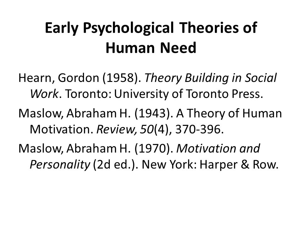 Early Psychological Theories of Human Need