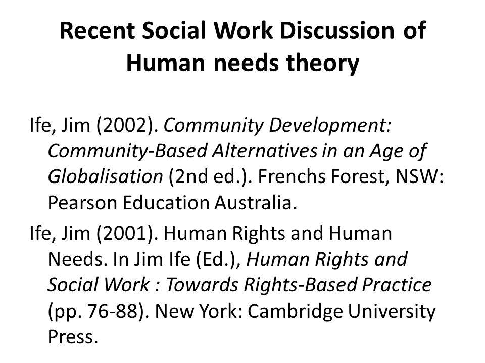 Recent Social Work Discussion of Human needs theory