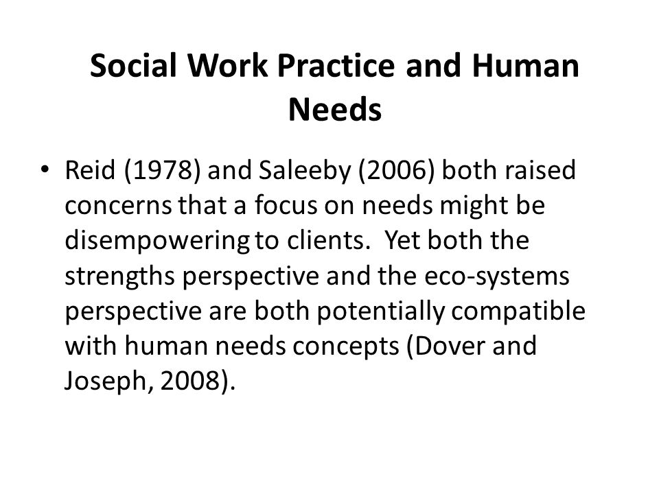 Social Work Practice and Human Needs