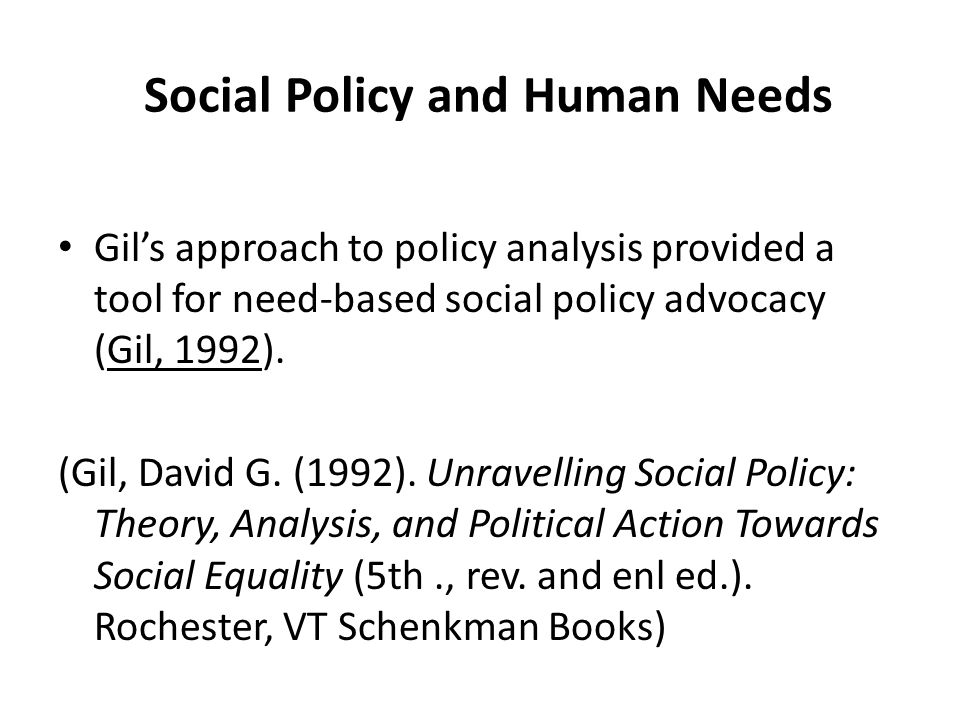 Social Policy and Human Needs