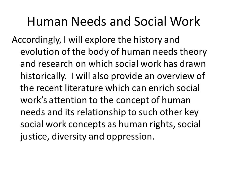 Human Needs and Social Work