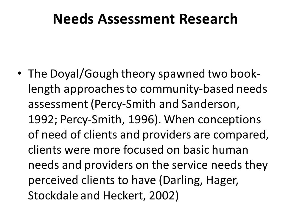 Needs Assessment Research