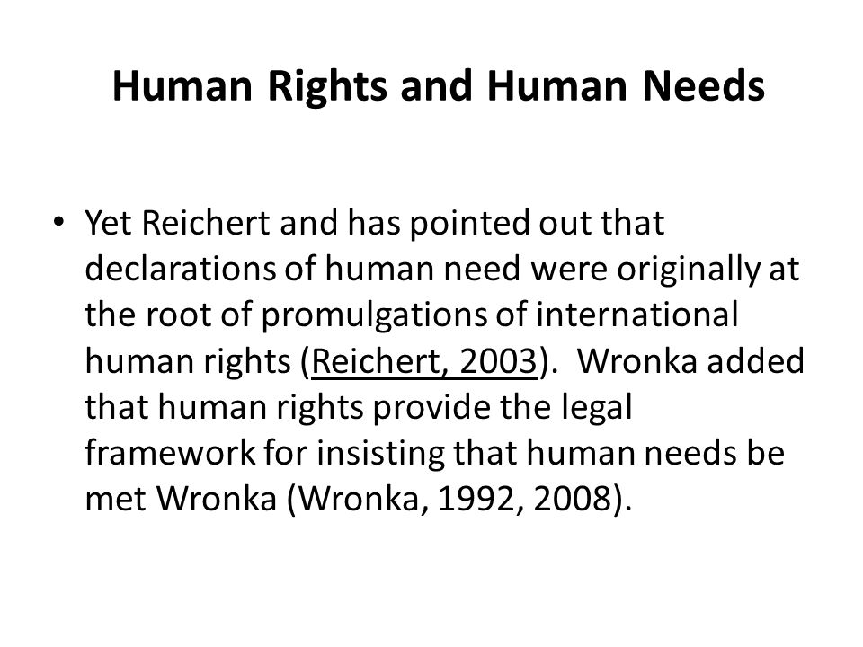 Human Rights and Human Needs