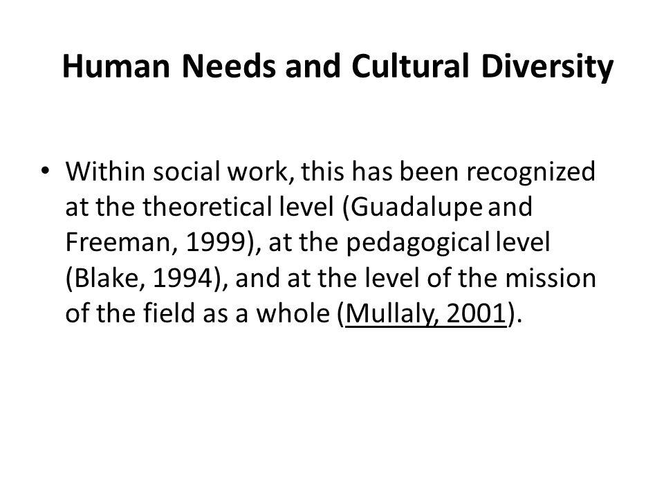 Human Needs and Cultural Diversity