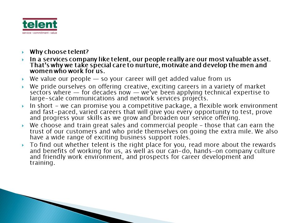 Why choose telent