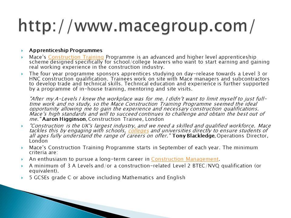 http://www.macegroup.com/ Apprenticeship Programmes