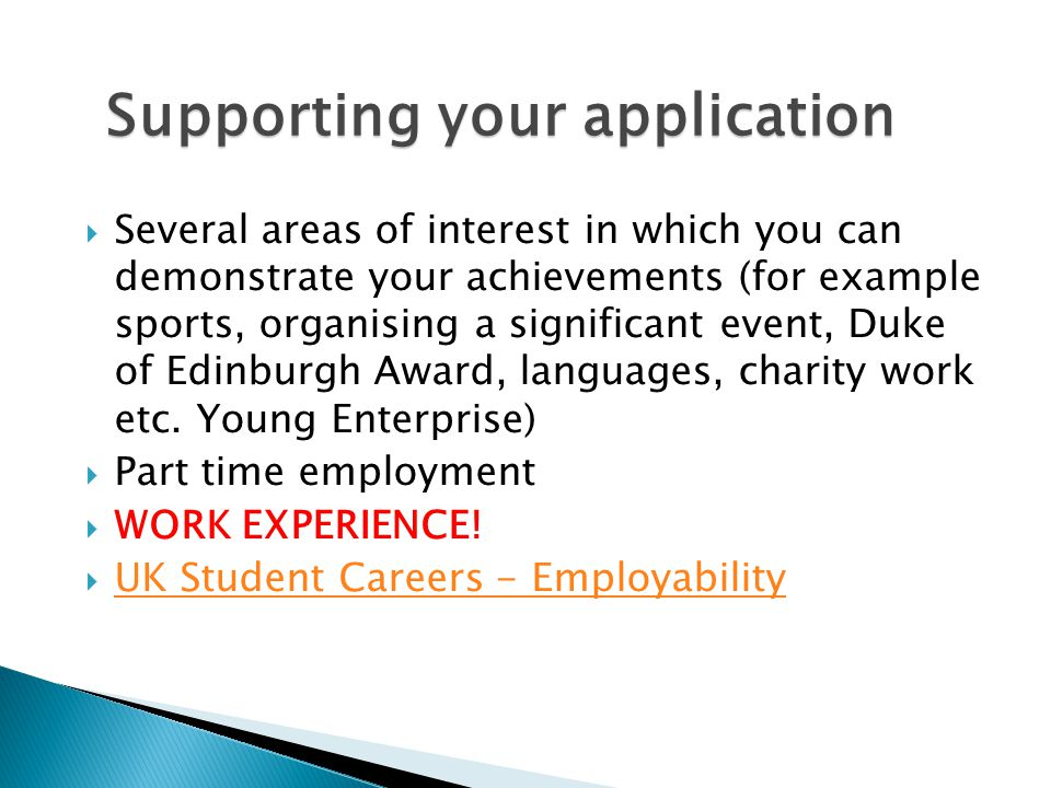 Supporting your application