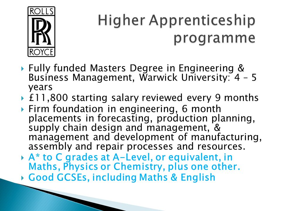 Higher Apprenticeship programme