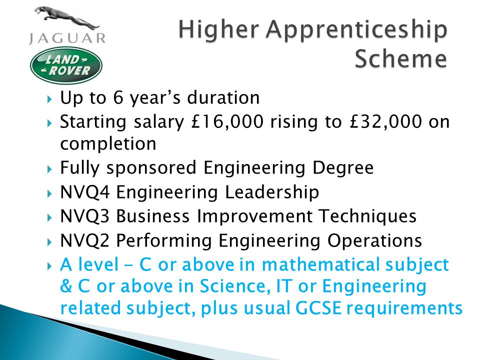Higher Apprenticeship Scheme