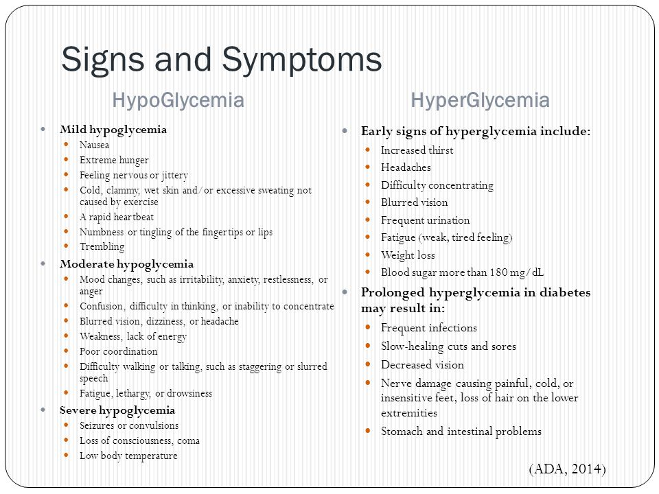 Signs and Symptoms HypoGlycemia HyperGlycemia (ADA, 2014)