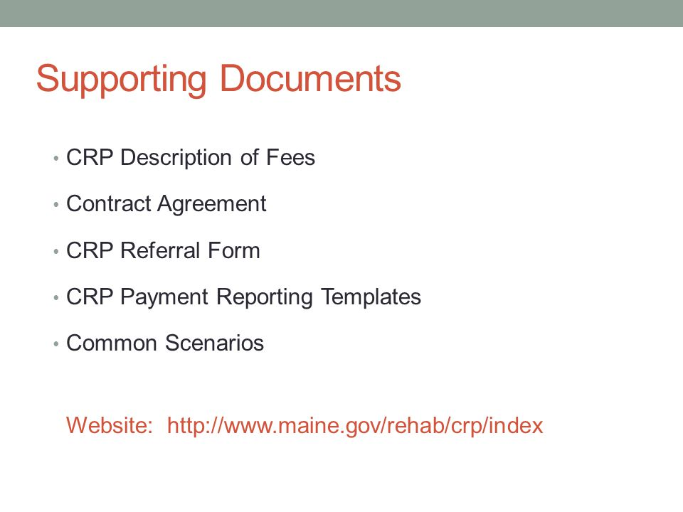 Supporting Documents CRP Description of Fees Contract Agreement