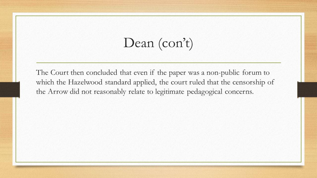 Dean (con't)