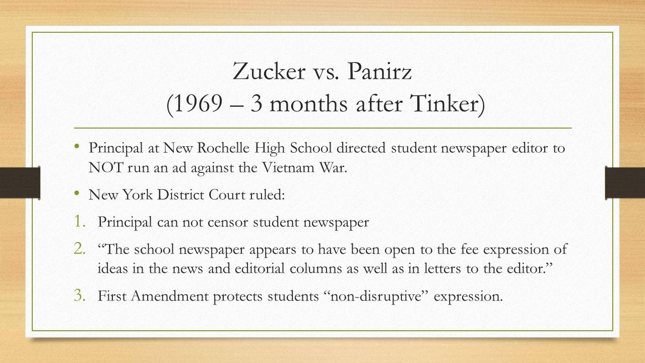 Zucker vs. Panirz (1969 – 3 months after Tinker)