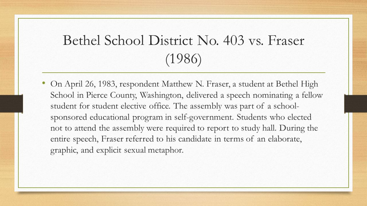 Bethel School District No. 403 vs. Fraser (1986)