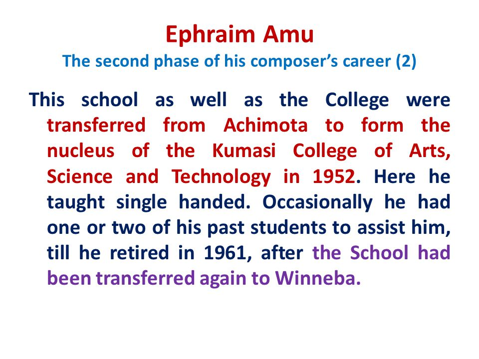 Ephraim Amu The second phase of his composer's career (2)