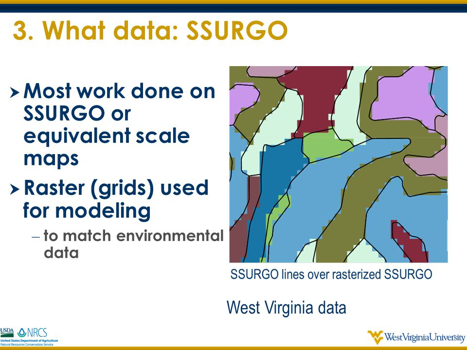 3. What data: SSURGO Most work done on SSURGO or equivalent scale maps