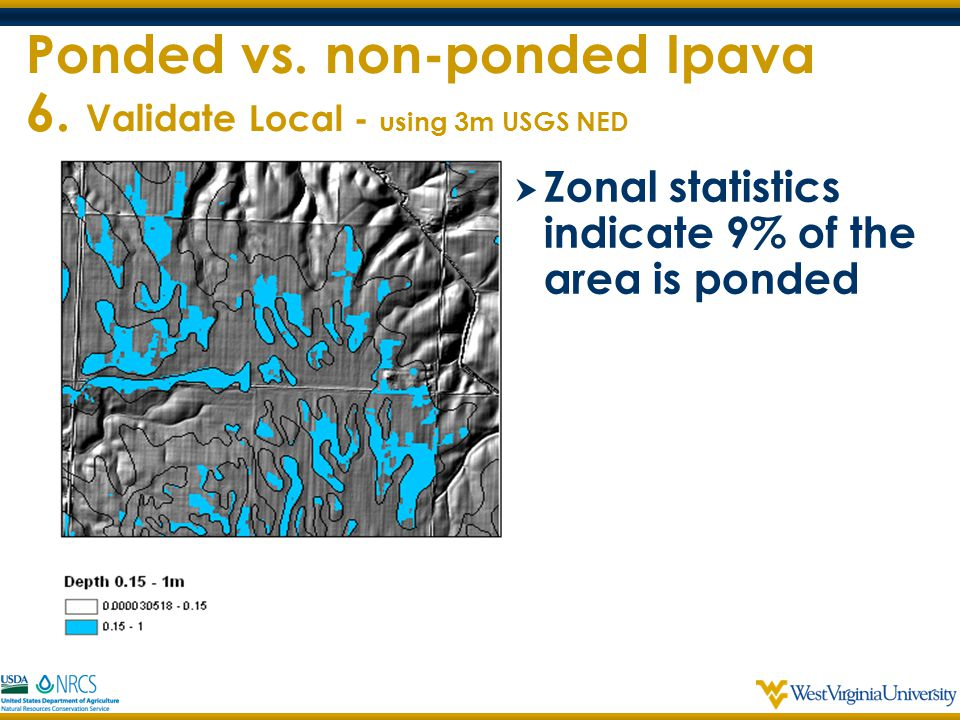 Ponded vs. non-ponded Ipava 6. Validate Local - using 3m USGS NED