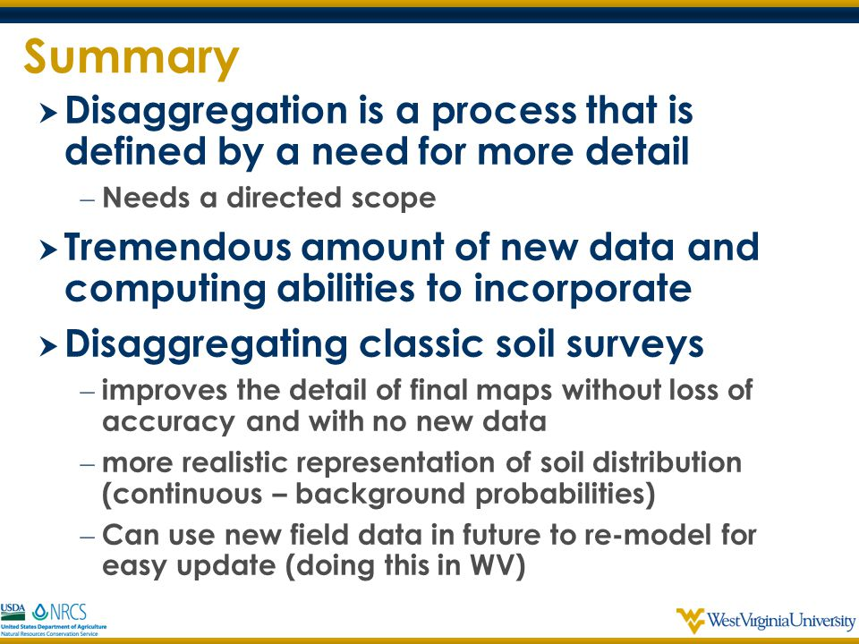 Summary Disaggregation is a process that is defined by a need for more detail. Needs a directed scope.