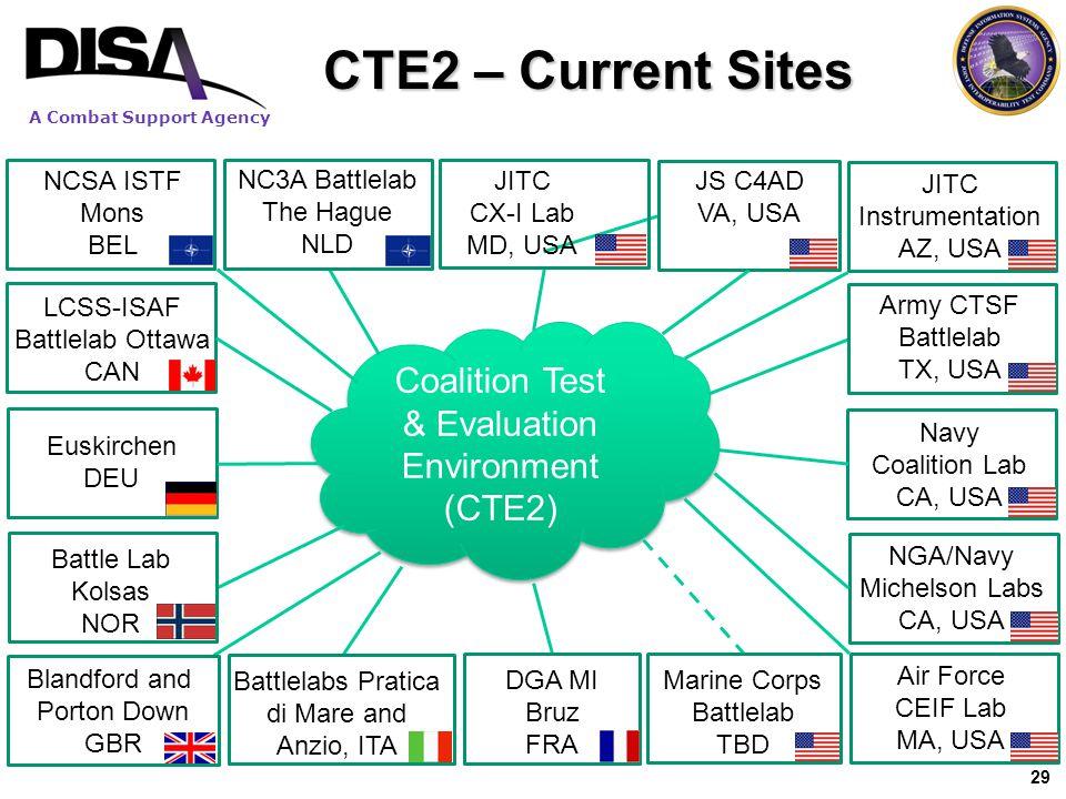 CTE2 – Current Sites Coalition Test & Evaluation Environment (CTE2)