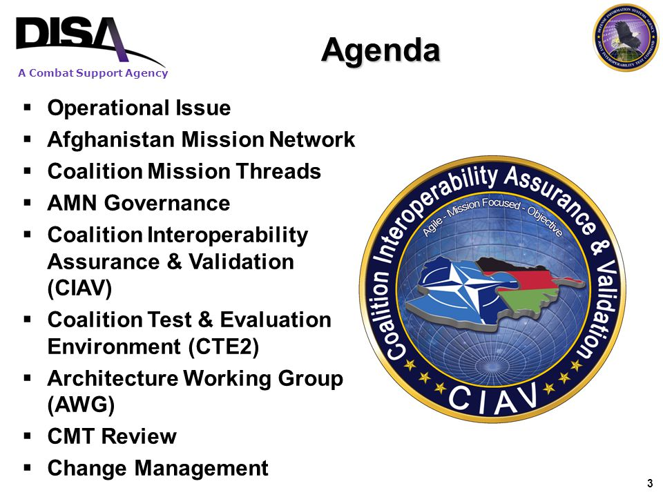 Agenda Operational Issue Afghanistan Mission Network