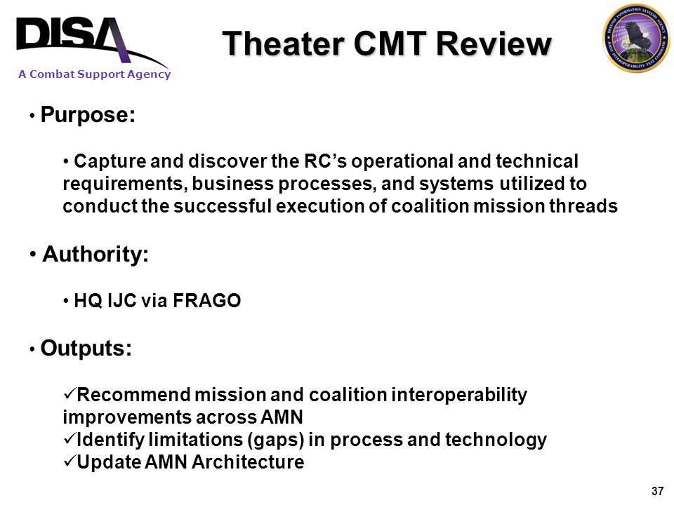 Theater CMT Review Authority: Purpose: