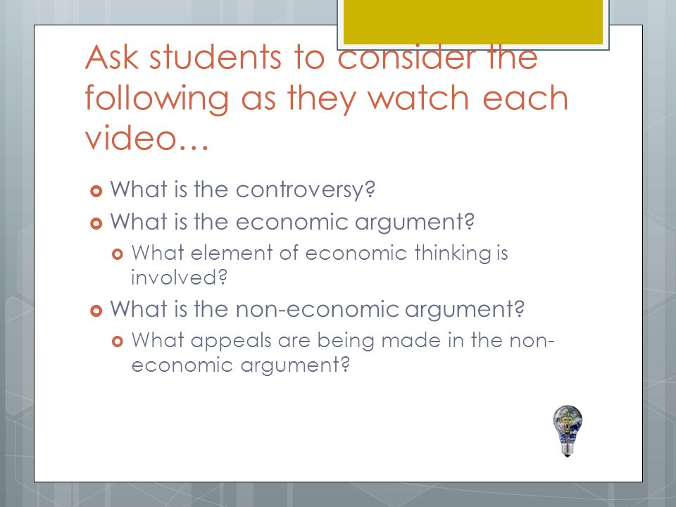 Ask students to consider the following as they watch each video…