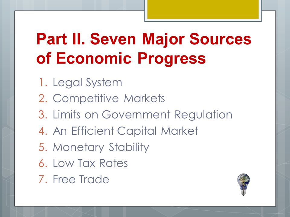 Part II. Seven Major Sources of Economic Progress