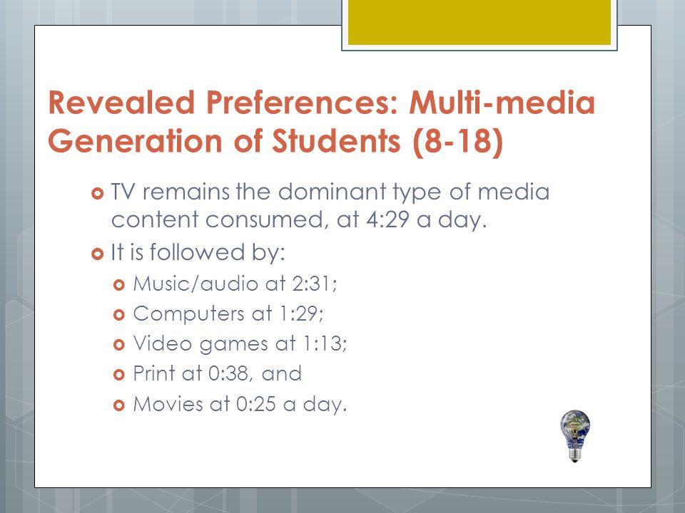 Revealed Preferences: Multi-media Generation of Students (8-18)