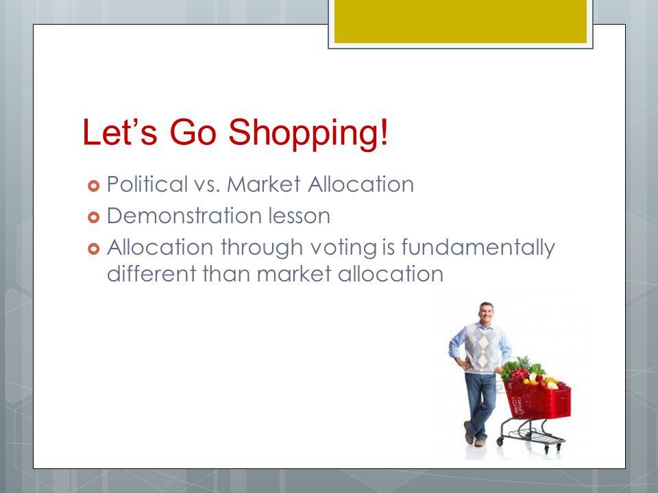 Let's Go Shopping! Political vs. Market Allocation