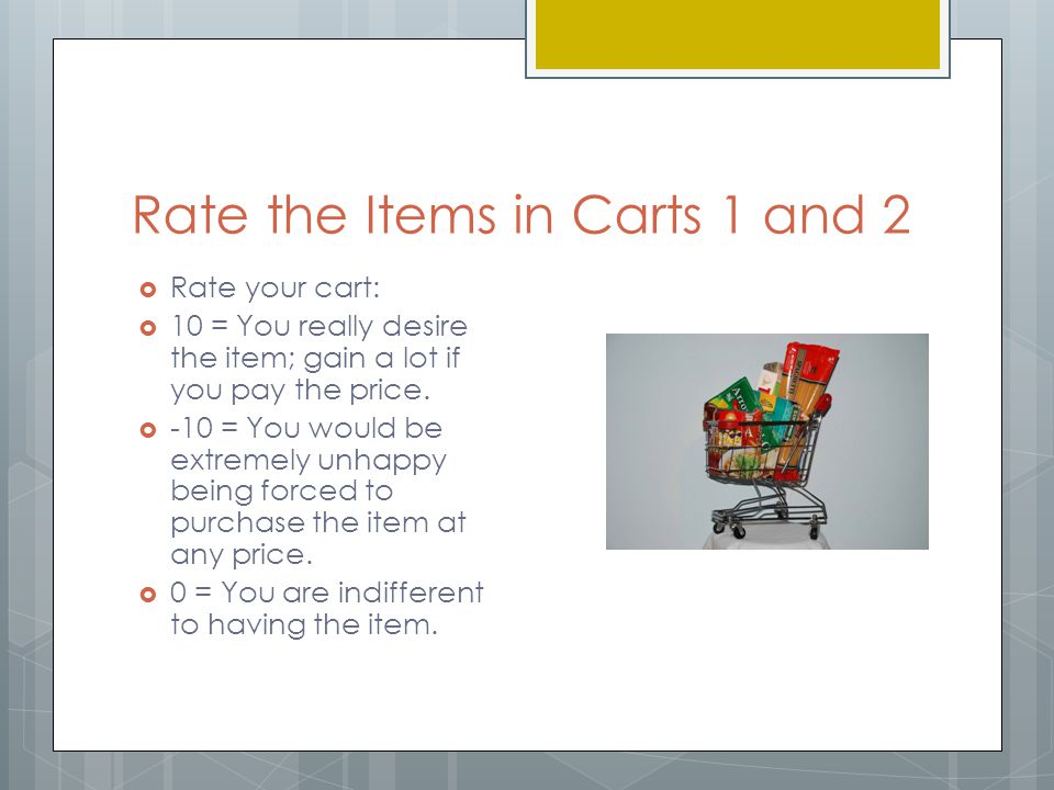 Rate the Items in Carts 1 and 2