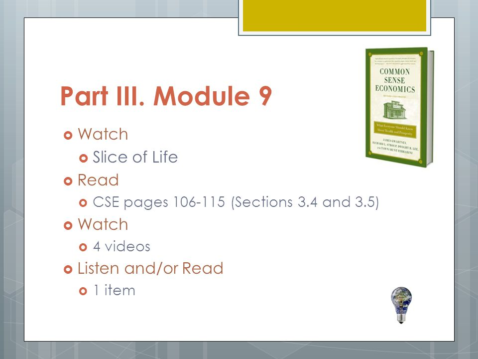 Part III. Module 9 Watch Slice of Life Read Listen and/or Read