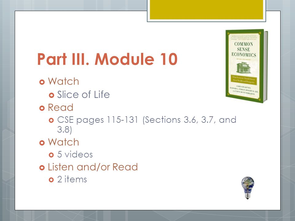 Part III. Module 10 Watch Slice of Life Read Listen and/or Read