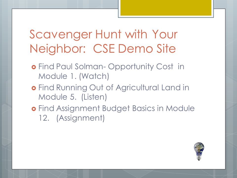 Scavenger Hunt with Your Neighbor: CSE Demo Site