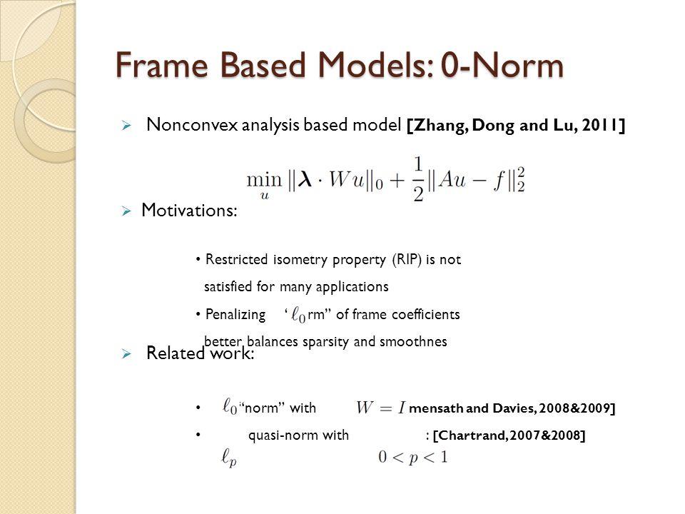 Frame Based Models: 0-Norm