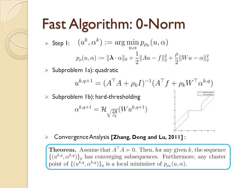 Fast Algorithm: 0-Norm Step 1: Subproblem 1a): quadratic